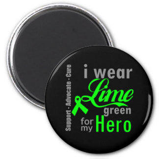 Lymphoma Lime Green Ribbon For My Hero 2 Inch Round Magnet