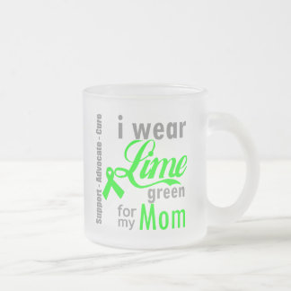Lymphoma Lime Green Ribbon For My Mom 10 Oz Frosted Glass Coffee Mug