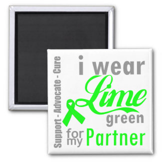 Lymphoma Lime Green Ribbon For My Partner 2 Inch Square Magnet