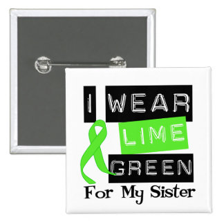 Lymphoma Lime Green Ribbon Sister 2 Inch Square Button