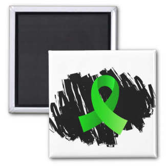 Lymphoma Lime Green Ribbon With Scribble 2 Inch Square Magnet