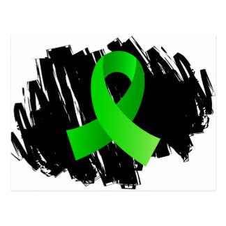 Lymphoma Lime Green Ribbon With Scribble Postcard