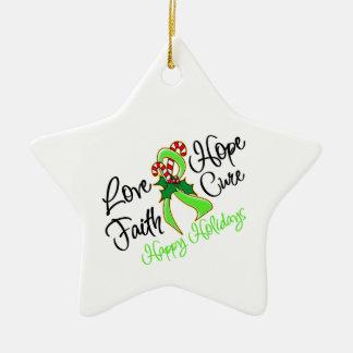 Lymphoma Love Hope Holidays Ceramic Ornament