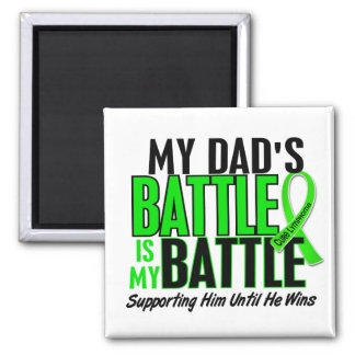 Lymphoma My Battle Too 1 Dad 2 Inch Square Magnet