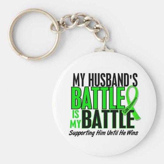 Lymphoma My Battle Too 1 Husband Keychain