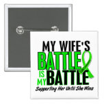Lymphoma My Battle Too 1 Wife Pinback Buttons