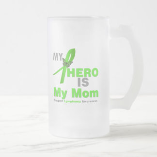 Lymphoma My Hero is My Mom 16 Oz Frosted Glass Beer Mug
