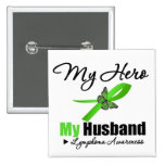 Lymphoma My Hero My Husband 2 Inch Square Button