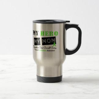 LYMPHOMA My Hero My Mom We Will Win 15 Oz Stainless Steel Travel Mug