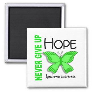 Lymphoma Never Give Up Hope Butterfly 4.1 2 Inch Square Magnet