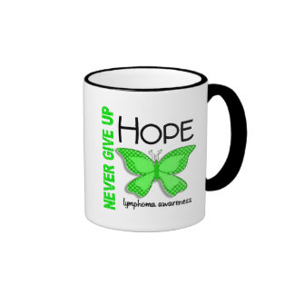 Lymphoma Never Give Up Hope Butterfly 4.1 Ringer Coffee Mug