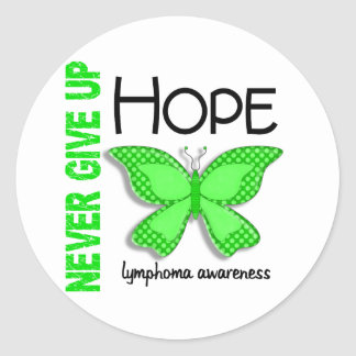 Lymphoma Never Give Up Hope Butterfly 4.1 Classic Round Sticker