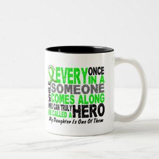 Lymphoma Non-Hodgkins HERO COMES ALONG 1 Daughter Two-Tone Coffee Mug