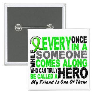 Lymphoma Non-Hodgkins HERO COMES ALONG 1 Friend 2 Inch Square Button