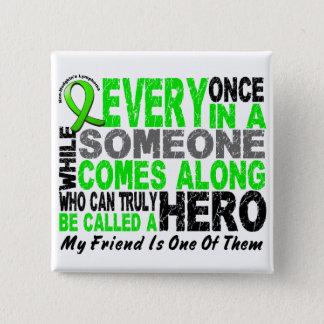 Lymphoma Non-Hodgkins HERO COMES ALONG 1 Friend Pinback Button