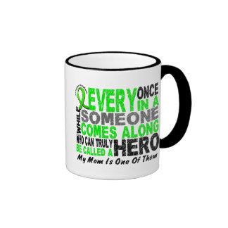 Lymphoma Non-Hodgkins HERO COMES ALONG 1 Mom Ringer Coffee Mug