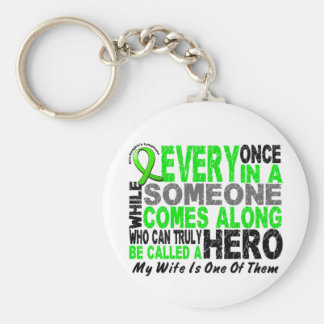Lymphoma Non-Hodgkins HERO COMES ALONG 1 Wife Basic Round Button Keychain