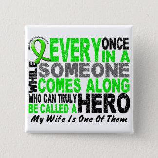 Lymphoma Non-Hodgkins HERO COMES ALONG 1 Wife Pinback Button