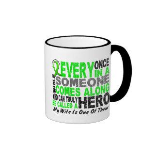 Lymphoma Non-Hodgkins HERO COMES ALONG 1 Wife Ringer Mug