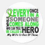 Lymphoma Non-Hodgkins HERO COMES ALONG 1 Wife Round Sticker