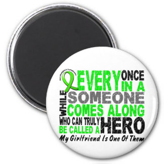 Lymphoma Non-Hodgkins HERO COMES ALONG Girlfriend 2 Inch Round Magnet