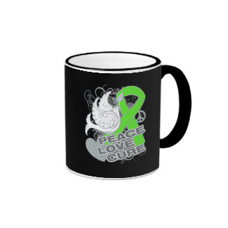 Lymphoma Peace Love Cure Mugs