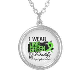 Lymphoma Ribbon For My Daddy Round Pendant Necklace