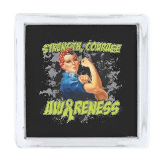 Lymphoma Strength Courage Awareness Silver Finish Lapel Pin