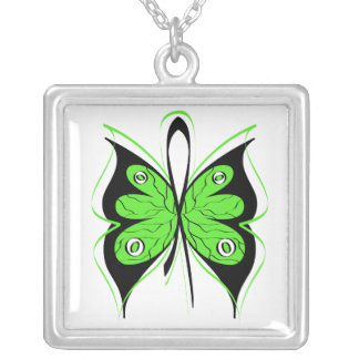Lymphoma Stylish Butterfly Awareness Ribbon Square Pendant Necklace