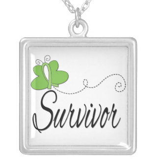 Lymphoma Survivor Butterfly Ribbon Square Pendant Necklace