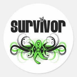 Lymphoma Survivor Grunge Winged Emblem Round Stickers