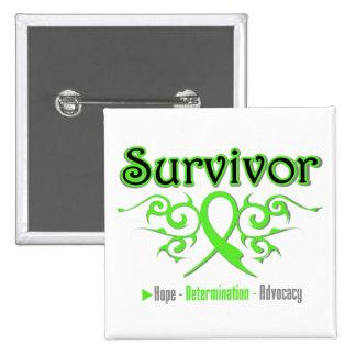 Lymphoma Survivor Tribal Ribbon Pinback Button