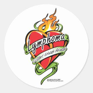 Lymphoma Tattoo Heart Round Stickers