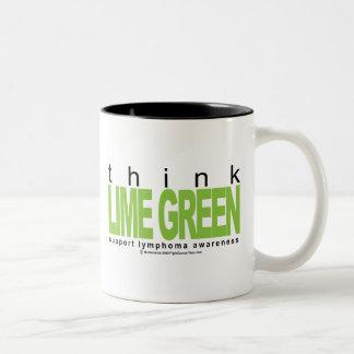 Lymphoma Think Lime Green Two-Tone Coffee Mug