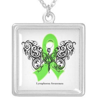Lymphoma Tribal Butterfly Ribbon Square Pendant Necklace