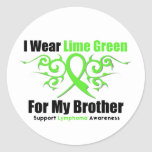Lymphoma Tribal Ribbon For My Brother Round Sticker
