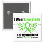 Lymphoma Tribal Ribbon For My Husband Button