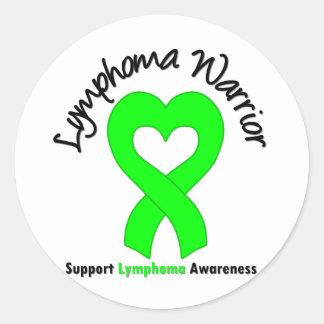 Lymphoma Warrior Heart Round Stickers