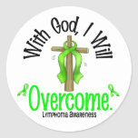 Lymphoma With God I Will Overcome Round Sticker