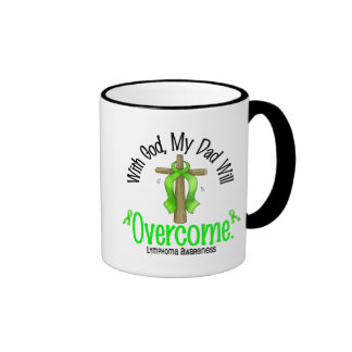 Lymphoma With God My Dad Will Overcome Ringer Coffee Mug