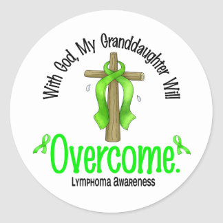 Lymphoma With God My Granddaughter Will Overcome Round Stickers