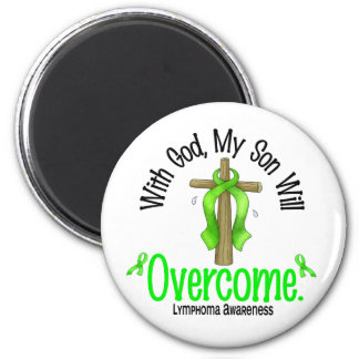 Lymphoma With God My Son Will Overcome 2 Inch Round Magnet