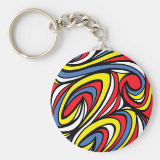 Lyn Abstract Expression Yellow Red Blue Basic Round Button Keychain
