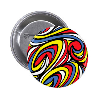 Lyn Abstract Expression Yellow Red Blue 2 Inch Round Button