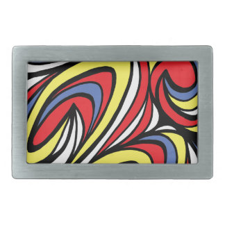 Lyn Abstract Expression Yellow Red Blue Rectangular Belt Buckles