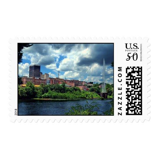 Lynchburg skyline stamp