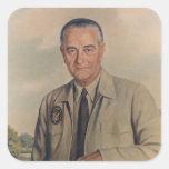 Lyndon B. Johnson - Elizabeth Shoumatoff (1969) Calcomanías Cuadradas Personalizadas