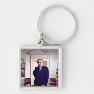 Lyndon B Johnson Llavero Cuadrado Plateado