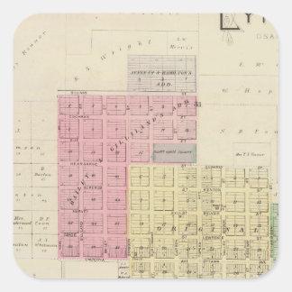 Lyndon, el condado de Osage, Kansas Pegatina Cuadrada