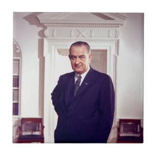 Lyndon Johnson Azulejo Cuadrado Pequeño